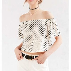 Urban Outfitters Off the Shoulder Polka Dot Top